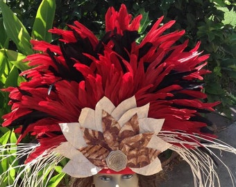 Authentic Tapa Cloth Headpiece For Tahitian & Cook Islands Dancers Of All Ages. Perfect For Luau, Soloist Dancers!!