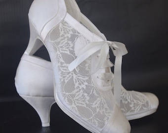 "Wedding shoes, Handmade 2.5"" Heels Satin and Lace Weding shoes #8445"