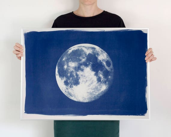 Full Moon Large Cyanotype Print on Watercolor Paper, 50x70 cm (Limited Series)