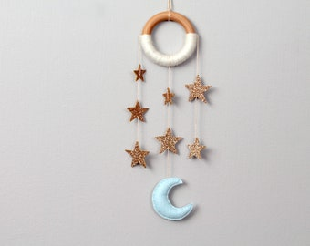 Gold Star Nursery Dreamer. Glitter Stars. Cascading Star Wall Mobile. Moon and Star Nursery Decor. Handmade by Ordinary Mommy