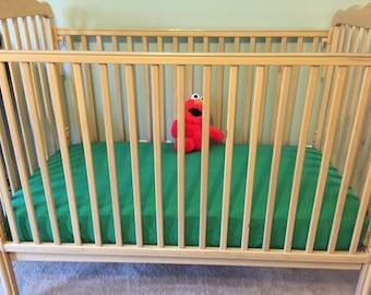 Crib sheet, green crib sheet, fitted crib sheet, toddler sheet,