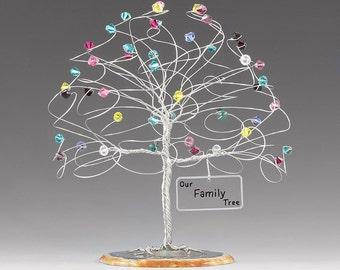 "Family Tree Personalized Birthstone Sculpture 6"" x 6"" Swarovski Crystal Elements Family Birthstone Tree"