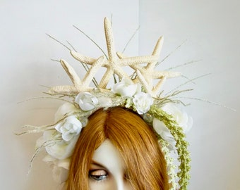 Bride of the Sea: Mermaid Headpiece Starfish Crown Undersea Bride Pirate Wedding White Flowers Shells Pale Green Tendrils One of a Kind