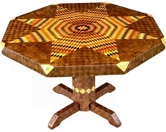 Large Flickering Lone Star Walnut Table