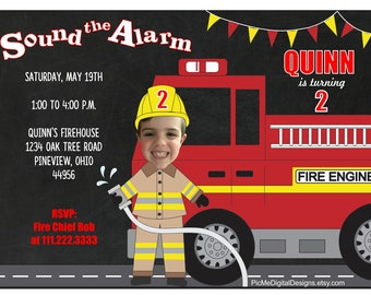Fire Engine Birthday Invitation, Custom Photo Birthday Invitation, Personalized Birthday Invitation