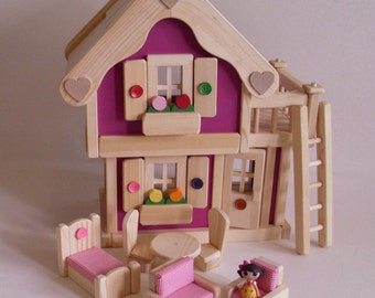 Wooden Doll House, Wood Toy Peg Dollhouse, Natural Wood Furniture,Waldorf inspired, Kids Birthday gift, Jacobs Wooden Toys 'MAGENTA BLOSSOM'
