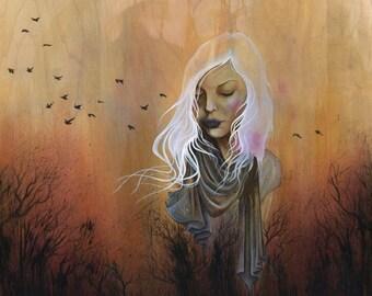 Winter Solstice - Fine Art Print, giclee, white hair, nature art, snow art, art on wood, watercolors, acrylic, phresha, trees, birds