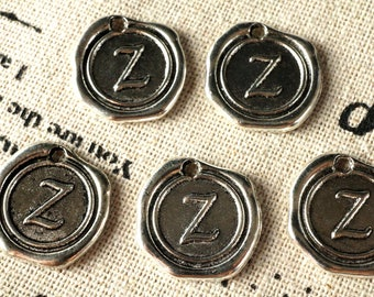 Alphabet letter Z wax seal charm silver vintage style jewellery supplies