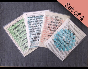 Set of 4 Teacher, Childcare Provider, Daycare, Babysitter quote prints