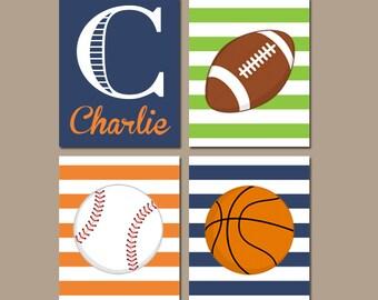 SPORTS Wall Art, CANVAS or Prints, Boy Nursery Decor, Sports Theme, Big Boy Bedroom, Football Baseball Basketball Set of 4 Boy Name Decor