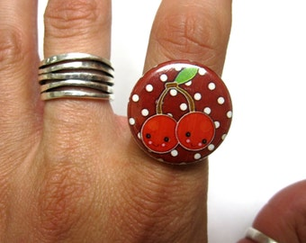Cherry Ring Rockabilly Red Fresh Fruit Cherries Jewelry