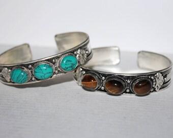 Turquoise bracelet, Tiger eye earrings, Silver bracelet, Boho bracelet, Tribal bracelet, Gypsy bracelet, Hippie bracelet, Tibetan bracelet