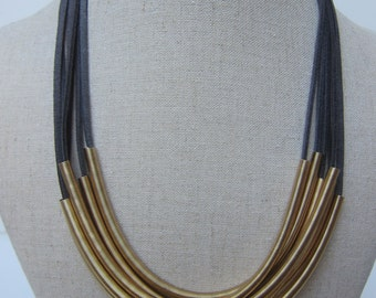 Leather Strand Statement Necklace - Gray