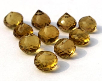 10 Pieces 5 Match Pair 10x10 mm Citrine Quartz Faceted Onion Briolettes , Jewelry Making , Earring Pair , BR207