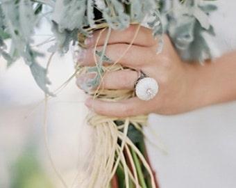 Beach Wedding Jewelry Sterling Silver White Sea Urchin Ring