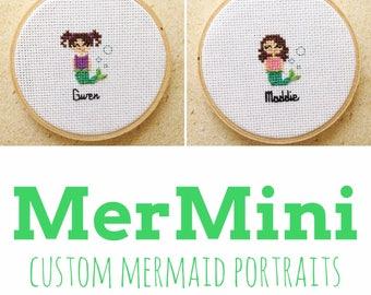 MerMini Custom Cross Stitch Portrait - Personalized Portrait - Custom Mermaid - Gift for little girls - Cross Stitch Portrait - Mermaid gift
