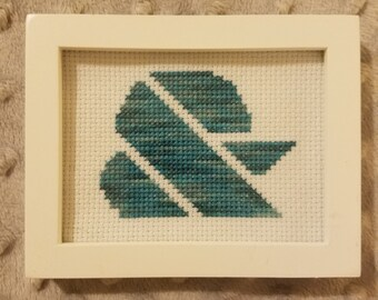 Framed cross stitch ampersand - teal