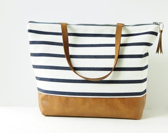 Large Zippered Black and White Stripe Tote