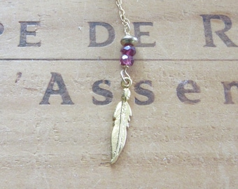 Tiny Gold Vermeil Feather and Garnets Necklace