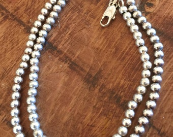 Sterling Silver Bead Ball 4mm Chain Necklace.