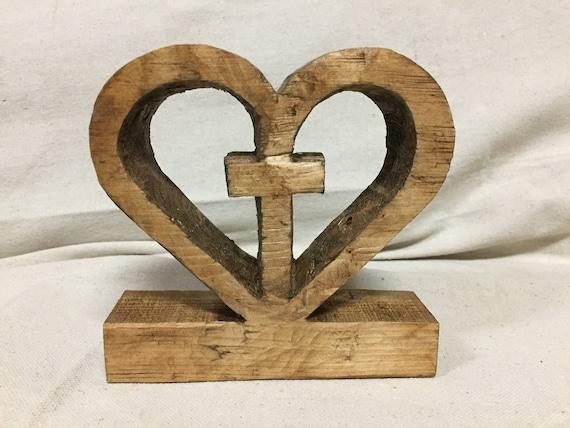 C. Jesus Dwells in My Heart | Unique Wooden Heart Cross Design | Rustic Stain
