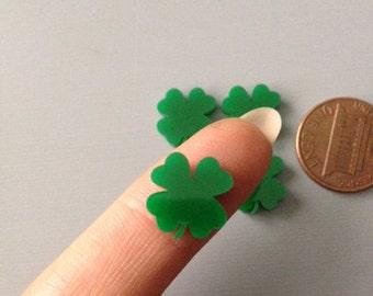 4x laser cut acrylic four leaf clover cabochons green