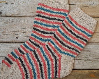Hand Knit Wool Socks -Colorful Socks for Women -Wool Socks Size US W 7-7,5/EU 38