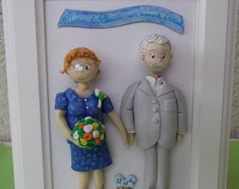 Cadre pour souvenir mariage figurines modelées en porcelaine froide sur commande