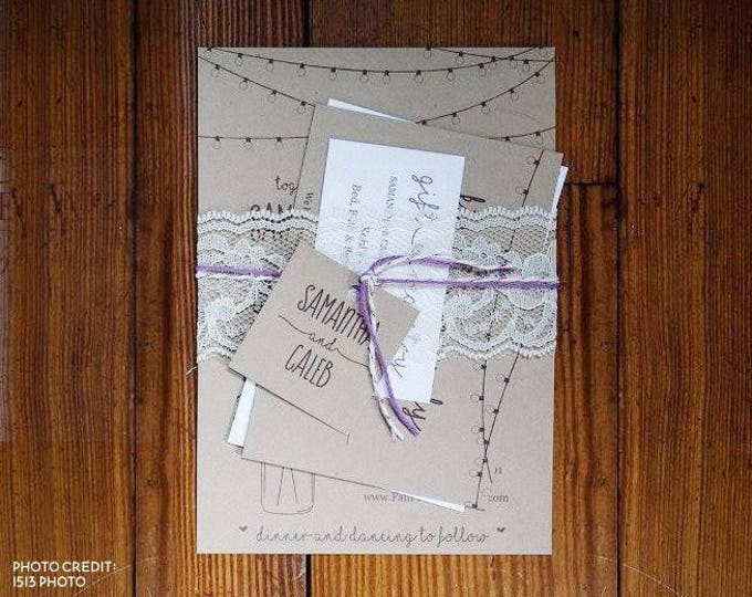 Featured listing image: Wedding Invitation Template - Rustic Mason Jar, Fairy Lights Printable Set - Kraft Paper - PDF Word Page Instant Download Digital File Suite