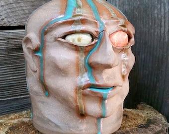 drip glaze decorative FACE JUG by Joel Patton