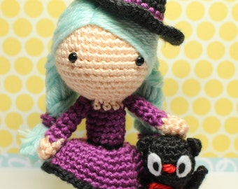 Crochet Amigurumi Cute Girl Sabrina the Witch and Cat Dolls PDF Pattern Stuffed Toy Gift Kawaii fall halloween