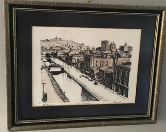 Framed Pen and Ink Drawing Art - Old Cincinnati - Signed Original Don Russell - Hand Colored