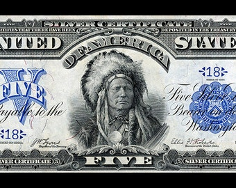 Indian  5 Dollar Note US Currency Art Print 11x14 unframed print