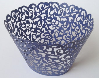 12 pcs Beautiful Royal Blue Classic Lace Wedding Filigree Cupcake Liners Liner Baking Cup Cupcake Wrapper Wrappers