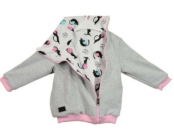 Two-sided blouse, Cotton sweatshirt, hoodies, sizes 6 months - 5 years, for a girl, for a boy, cats, gray, white