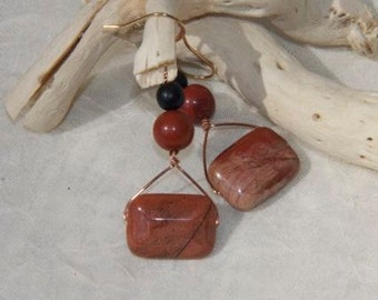 Earrings:  warm earthy primitive rust jasper,  creams burnt earth and browns copper wire and findings, OOAK