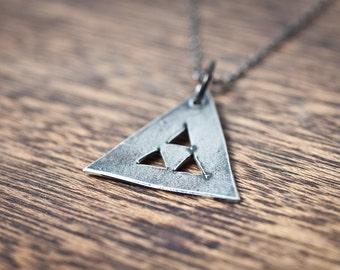 TeePee Geometric Triangle Necklace - Triangle Necklace - Geometric Necklace - Bohemian Jewelry - Bohemian Necklace - Long Triangle Necklace