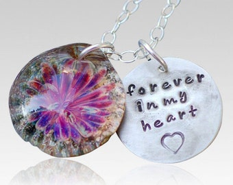 Pet Cremation Pendant Handstamped Charm Glass Flower Necklace Borosilicate Boro Lampwork, Hand Blown Glass Jewelry - Memorial