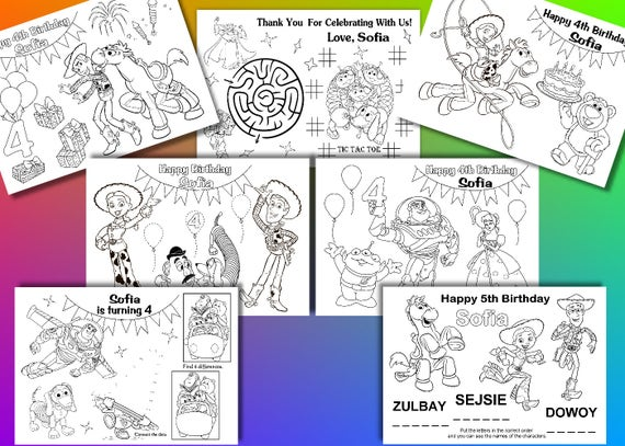 Toy Story Birthday Party coloring pages activity PDF file