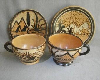 2 Cups and Saucers - Tonala Petatillo Design - ca 1930