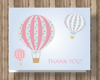 HOT AIR BALLOON Thank You Cards Hot Air Balloon Baby Shower Thank You Notecards Pink and Blue / Boxed Set of 10 / Personalize With A Name