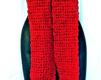 Cherry Red SCARF 106 x 5 inches Extra Extra Long Oversize Handmade Crochet Knit Super Chunky Mans Womans Spring Unique Power Color
