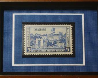 US Military Academy - Vintage Framed West Point Postage Stamp - No. 789