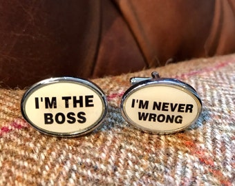 Men's Cufflinks. I'm The Boss I'm Never Wrong. Wedding or Birthday Gift, Christmas Present for Husband, Boyfriend, Dad, Friend, Son, Manager
