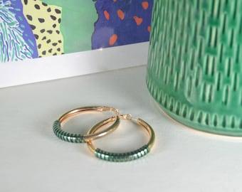 Green Gold Plated hoops Earrings KISS, metallic green hand tinted vinyl thread Hight Quality