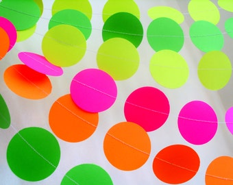 """NEON paper garland  2"""" circle paper garland choose the length dayglow party decor teen tween birthday neon yellow neon pink neon party"""