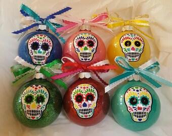 Sugar Skull Christmas Ornaments, Day Of The Dead, Sugar Skull Decor, Sugar Skull Ornaments, Christmas Balls, Ornaments, Dia De Los Muertos