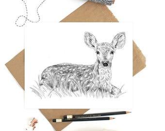 Woodland Nursery Decor, Deer Nursery Art, Deer Art, Baby Animal Print, Woodland Deer Decor, Baby Deer Fawn, Baby Deer Nursery, Fawn Nursery