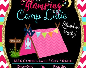 Let's go Glamping Birthday Invitation