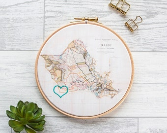 """Cotton anniversary gift: Vintage map in 6"""" wooden hoop and embroidered with heart or house"""